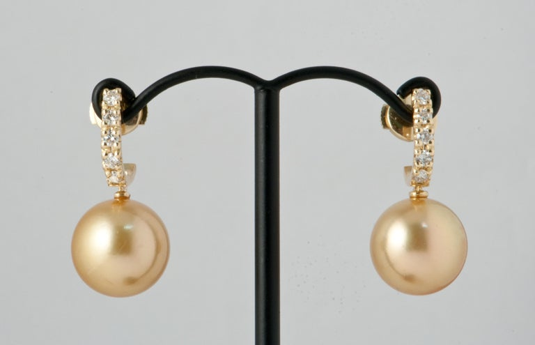 Contemporary South Sea Pearl and White Diamonds on Yellow Gold 18 Karat Drop Earrings For Sale