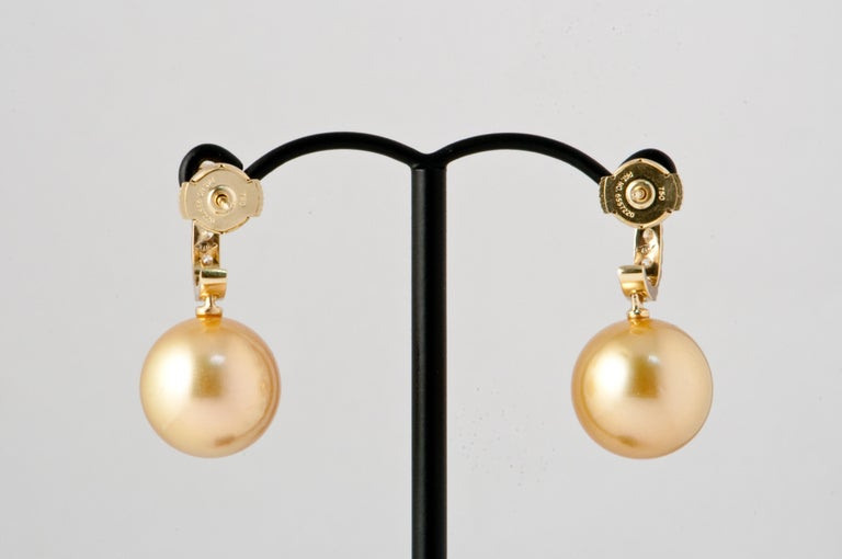 South Sea Pearl and White Diamonds on Yellow Gold 18 Karat Drop Earrings For Sale 2