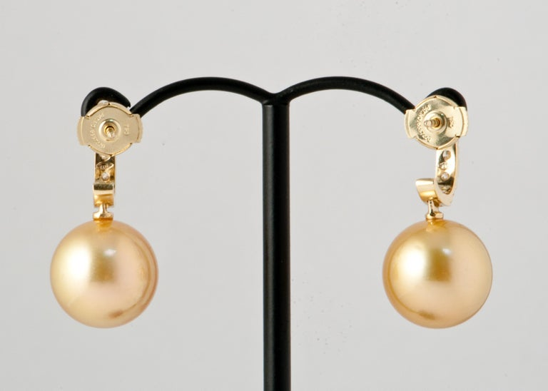 South Sea Pearl and White Diamonds on Yellow Gold 18 Karat Drop Earrings For Sale 3