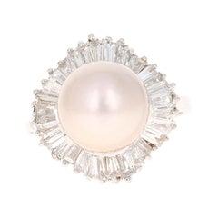 South Sea Pearl Baguette Diamond 14 Karat White Gold Cocktail Ring