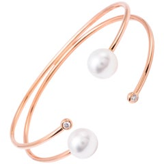 South Sea Pearl Bangle Bracelet 0.12 Carat 18 Karat Rose Gold