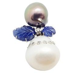 South Sea Pearl, Blue Sapphire and Diamond Pendant Set in 18 Karat White Gold