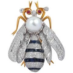 South Sea Pearl, Blue Sapphire, Diamond, Ruby Bee Brooch Set in 18 Karat