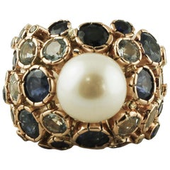 South Sea Pearl, Blue Sapphires, Aquamarine, 14 Karat Yellow Gold Retro Ring