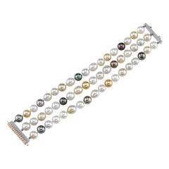 South Sea Pearl Bracelet, Accented with 0.77ct. White Diamonds Set in 18KW/RG