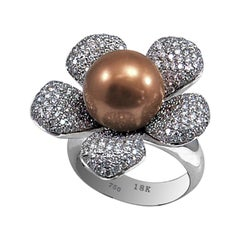 South Sea Pearl Chocolate Color Floral Ring with Diamonds in 18 Karat White Gold