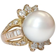 South Sea Pearl Cocktail Ring with Baguette Diamonds in 14 Karat Yellow Gold