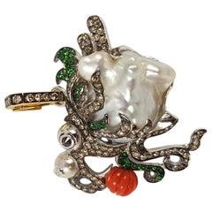 South Sea Pearl, Coral, Brown Diamond Dragon Pendant in 18K White Gold Settings
