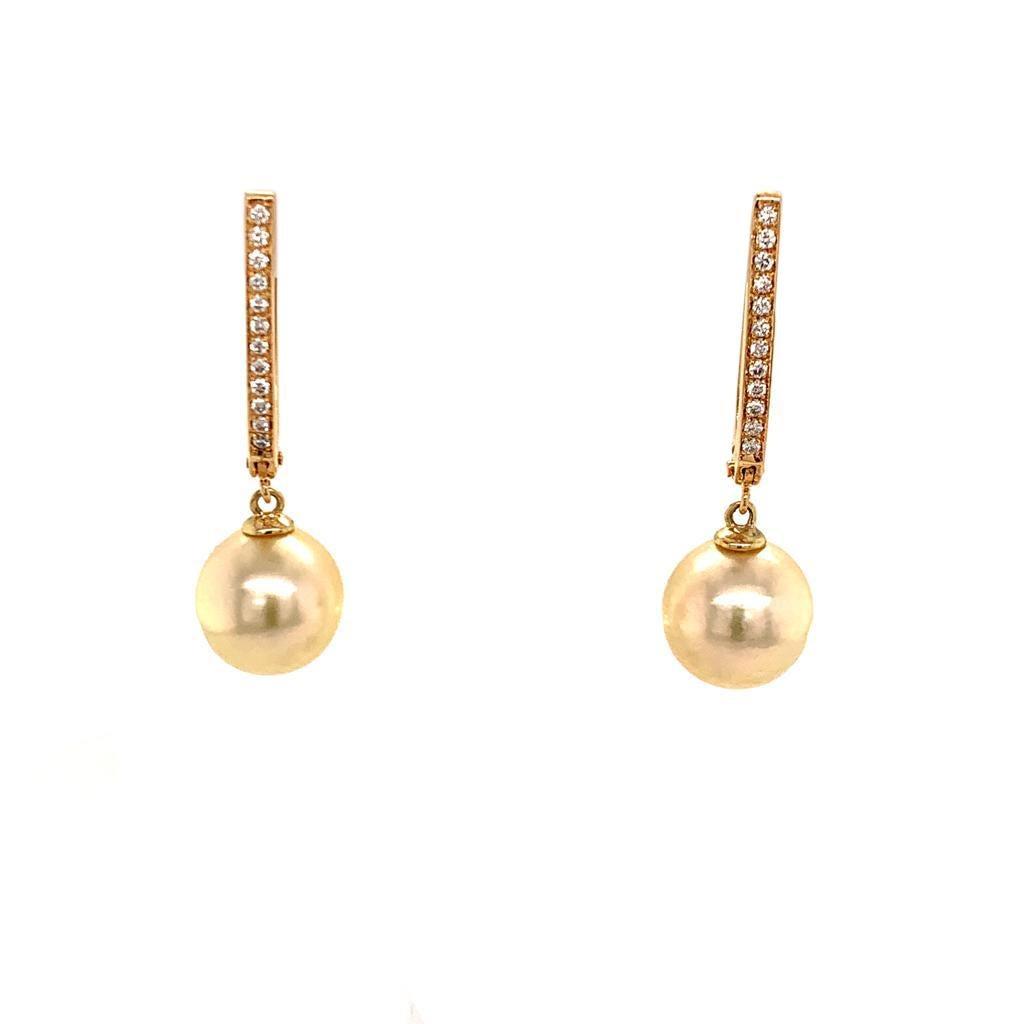 South Sea Pearl Dangle Earrings 14k Gold Large Certified