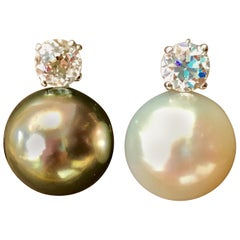South Sea Pearl Day and Night Solitaire Diamond Cocktail Stud Earrings 18K Gold