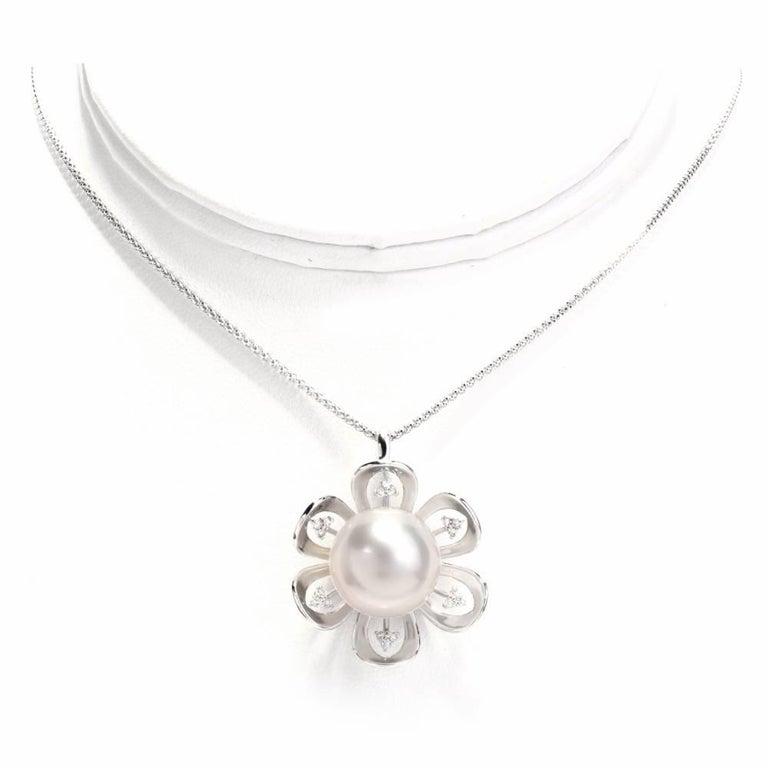 South Sea Pearl Diamond 18 Karat White Gold Pendant Necklace For Sale 2