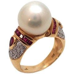South Sea Pearl, Diamond and Ruby Ring in Yellow Gold
