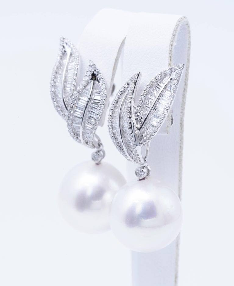 South Sea Pearl 14-15 mm Diamonds : 1.60 Carats 18K White Gold