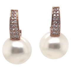 South Sea Pearl Diamond Bar Drop Earrings 0.40 Carat 18 Karat White Gold