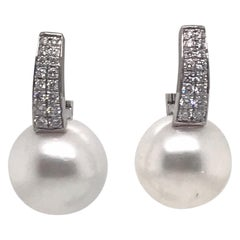 South Sea Pearl Diamond Bar Drop Earrings 0.40 Carat 18 Karat White Gold