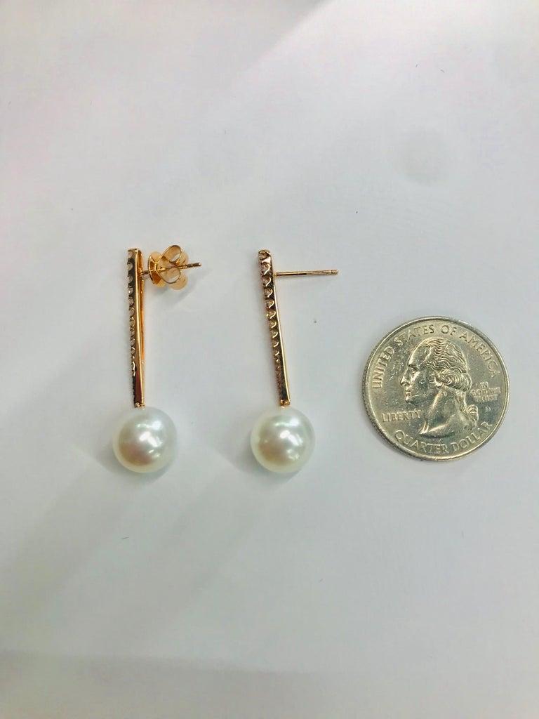 Women's South Sea Pearl Diamond Bar Drop Earrings 0.43 Carat 18 Karat Rose Gold For Sale