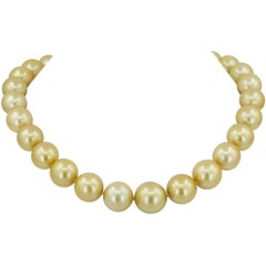 South Sea Pearl Diamond Bead Yellow Gold Necklace