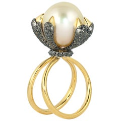 Ico & the Bird Fine Jewelry South Sea Pearl Diamond 18 Karat Gold Bird Ring