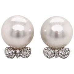 South Sea Pearl Diamond Bow Earrings 0.36 Carat 18 Karat White Gold
