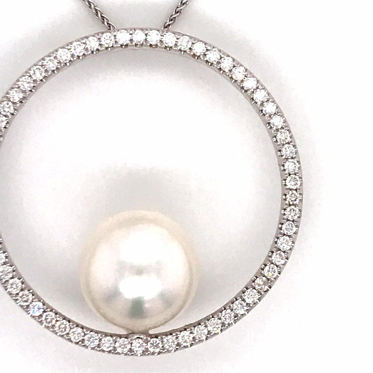 Contemporary South Sea Pearl Diamond Circle Pendant 1.04 Carat 18 Karat White Gold For Sale