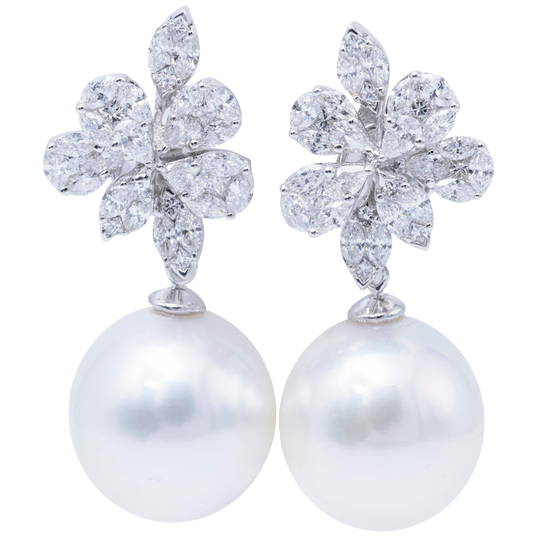 South Sea Pearl Diamond Cluster Earrings 2.14 Carat 18 Karat White Gold