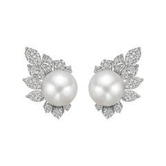 South Sea Pearl & Diamond Cluster Earrings