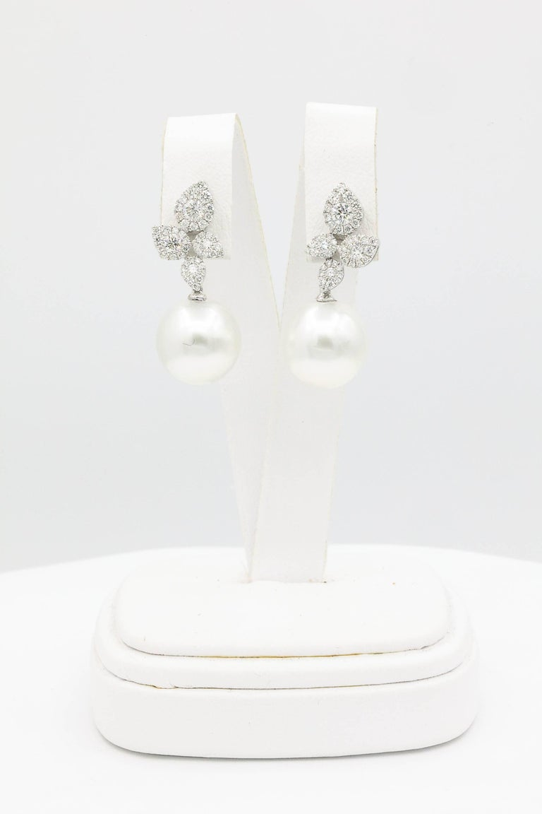 Contemporary South Sea Pearl Diamond Cluster Leaf Earrings 1.05 Carat 18 Karat For Sale