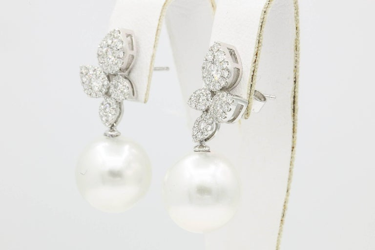 Round Cut South Sea Pearl Diamond Cluster Leaf Earrings 1.05 Carat 18 Karat For Sale