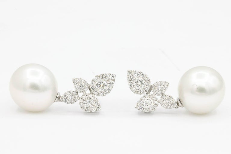 South Sea Pearl Diamond Cluster Leaf Earrings 1.05 Carat 18 Karat In New Condition For Sale In New York, NY