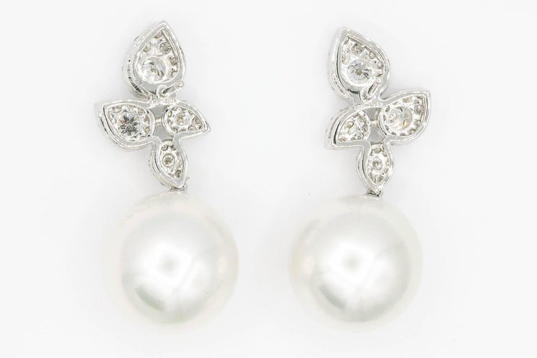 Women's South Sea Pearl Diamond Cluster Leaf Earrings 1.05 Carat 18 Karat For Sale