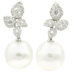 South Sea Pearl Diamond Cluster Leaf Earrings 1.05 Carat 18 Karat
