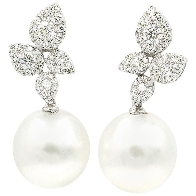 South Sea Pearl Diamond Cluster Leaf Earrings 1.05 Carat 18 Karat For Sale