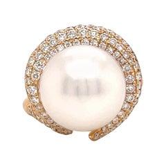 South Sea Pearl Diamond Cocktail Ring 0.84 Carats 4.9 Grams