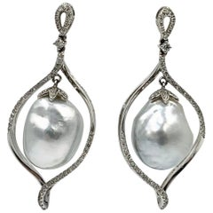 South Sea Pearl Diamond Dangle Drop Earrings 18 Karat White Gold