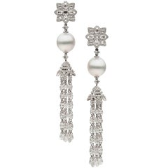 South Sea Pearl Diamond Dangle Earrings