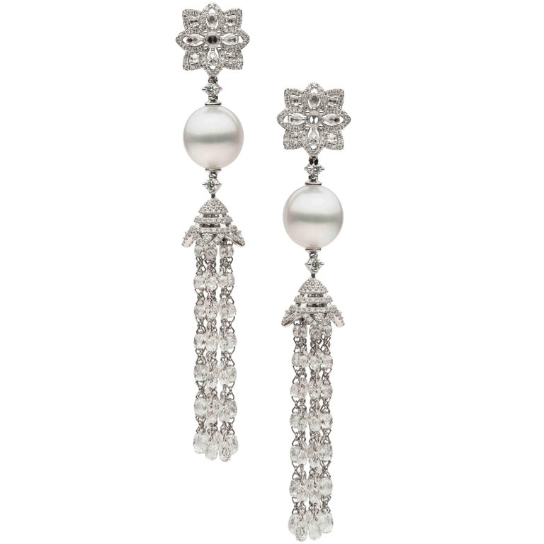 South Sea Pearl Diamond Dangle Earrings