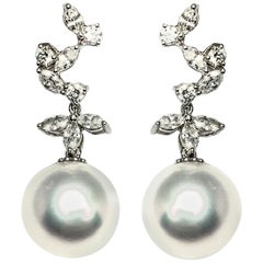 South Sea Pearl Diamond Dangling Earrings