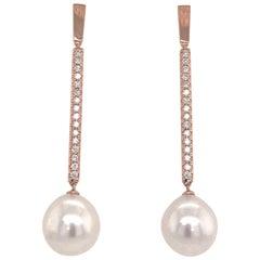 South Sea Pearl Diamond Drop Bar Earrings 0.63 Carat 18 Karat Rose Gold
