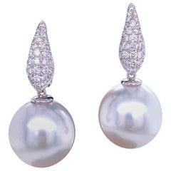South Sea Pearl Diamond Drop Earrings 0.45 Carat 18 Karat White Gold