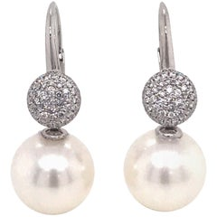 South Sea Pearl Diamond Drop Earrings 0.47 Carat 18 Karat White Gold