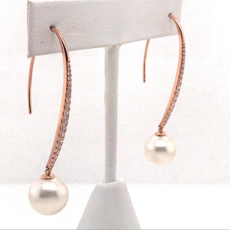 Contemporary South Sea Pearl Diamond Drop Earrings 0.57 Carat 18 Karat Rose Gold For Sale