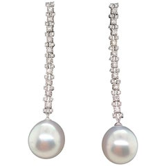South Sea Pearl Diamond Drop Earrings 1.08 Carat 18 White Gold