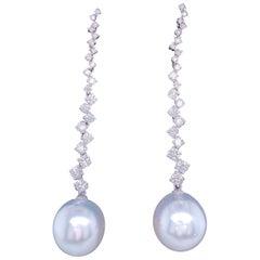 South Sea Pearl Diamond Drop Earrings 1.53 Carat 18 Karat White Gold
