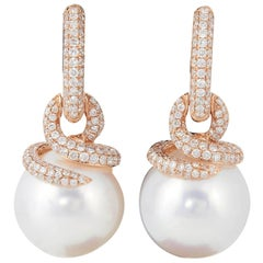 South Sea Pearl Diamond Drop Earrings 1.55 Carat 18 Karat Rose Gold