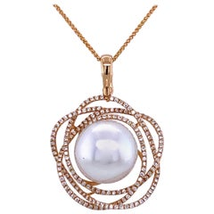 South Sea Pearl Diamond Floral Pendant 0.68 Carat 18 Karat Yellow Gold