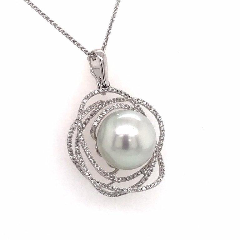 Contemporary South Sea Pearl Diamond Floral Pendant 0.68 Carat 18 Karat White Gold For Sale