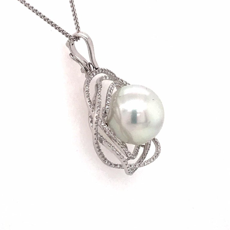 South Sea Pearl Diamond Floral Pendant 0.68 Carat 18 Karat White Gold In New Condition For Sale In New York, NY