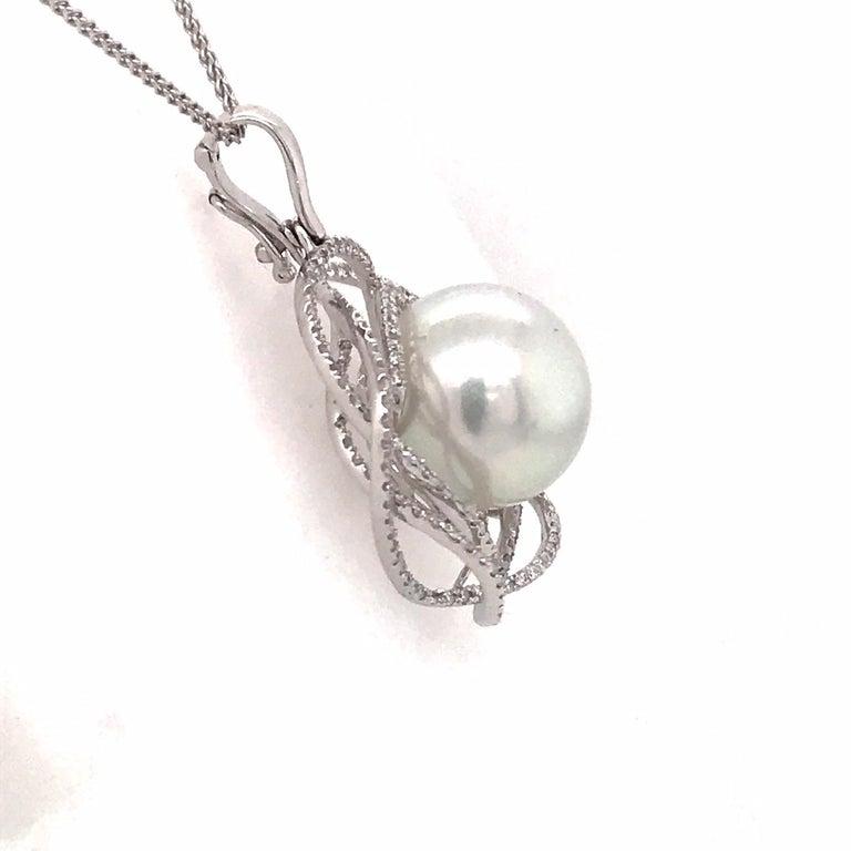 Women's South Sea Pearl Diamond Floral Pendant 0.68 Carat 18 Karat White Gold For Sale