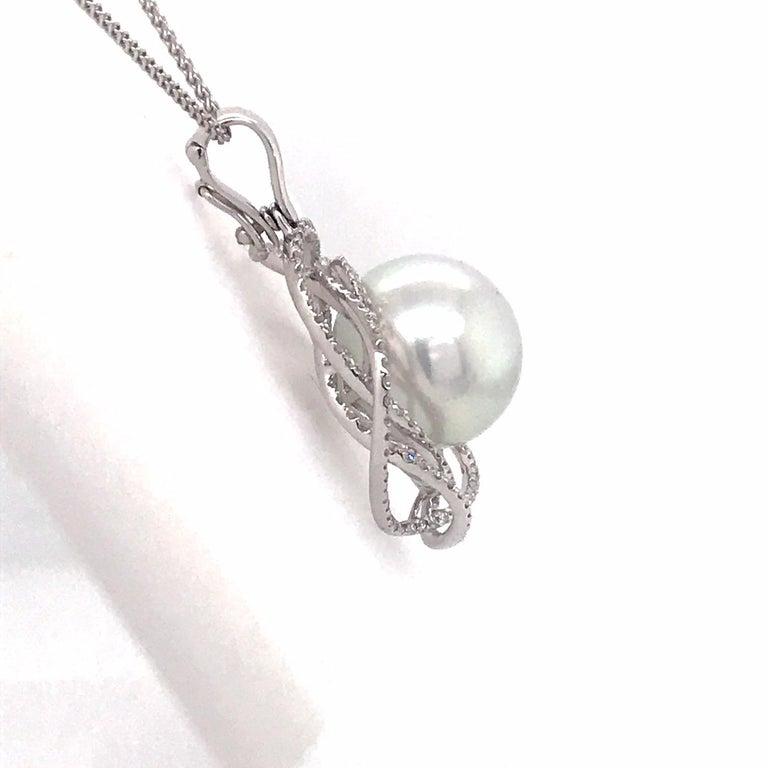 South Sea Pearl Diamond Floral Pendant 0.68 Carat 18 Karat White Gold For Sale 1