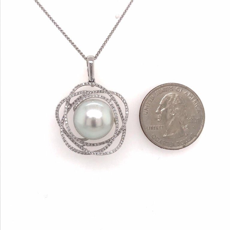South Sea Pearl Diamond Floral Pendant 0.68 Carat 18 Karat White Gold For Sale 2